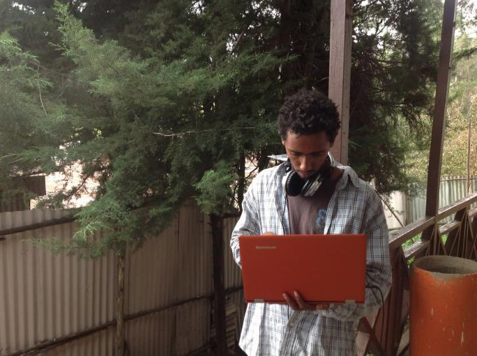 Ifa Mesfin, student and translator outside our studio in Addis Ababa.