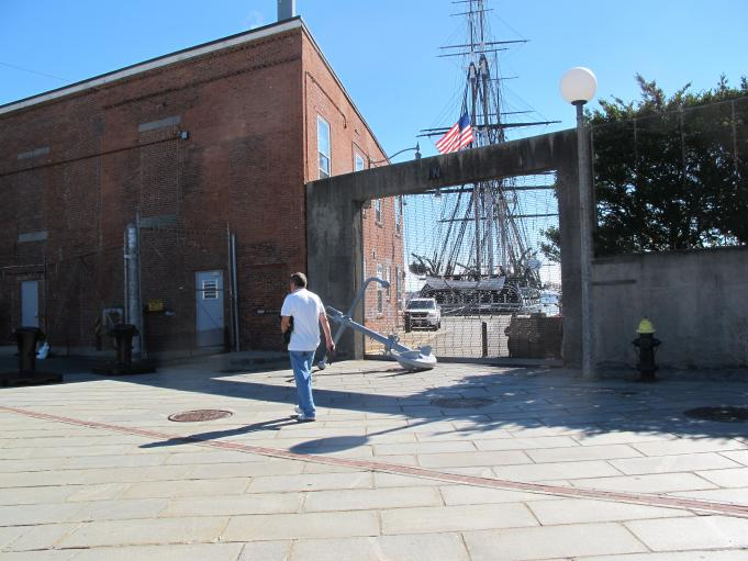 The USS Constitution, America's oldest commissioned naval vessel afloat, which is usually open for visitors, was locked behind gates.