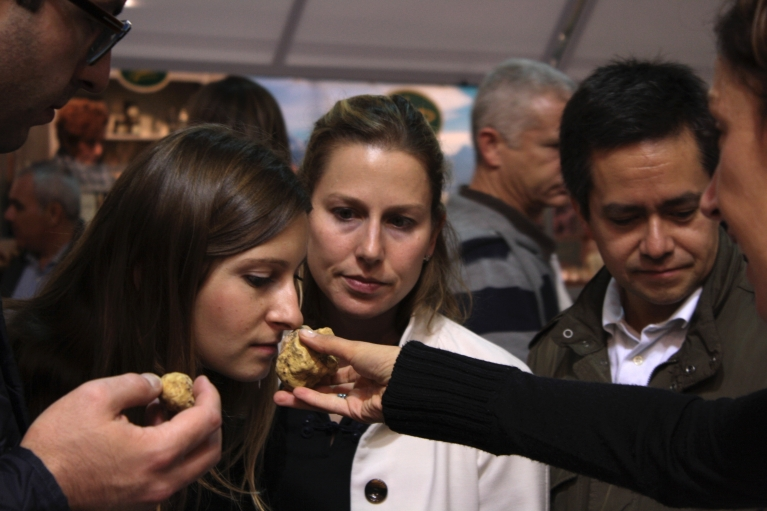 During the month of November, customers can sniff out and buy truffles at the White Truffle Festival in Alba, Northern Italy.
