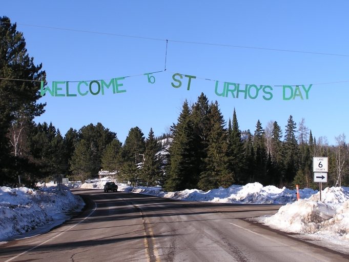 A sign welcomes visitors to the 39th annual St. Urho's Day parade and celebration in Finland, Minnesota. Towns across the country with Finnish populations now celebrate the faux-holiday, the day before St. Patrick's Day.