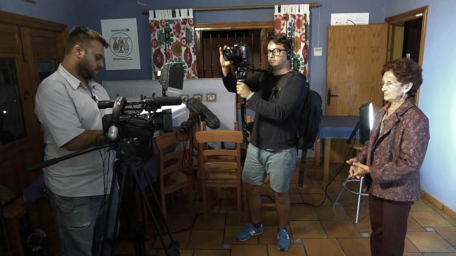 Director and restaurant owner David Perea films his mother-in-law in a scene from his family's reality TV show, Las Aventuras de Moriana, in Murcia Spain.