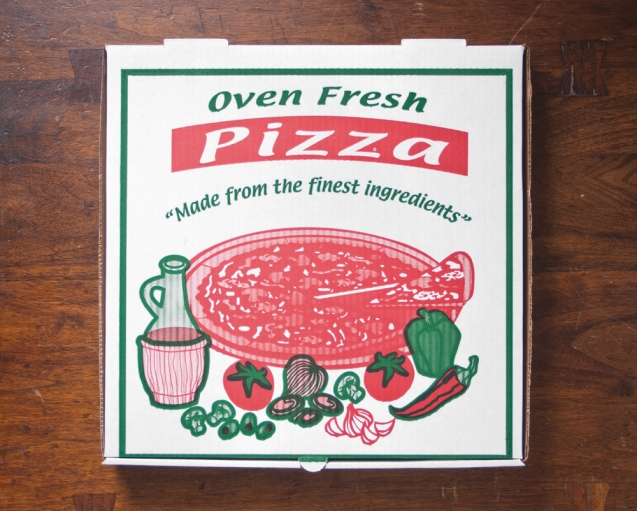 A standard two-tone American pizza box.