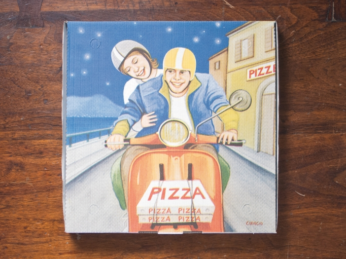 A pizza box illustration by the artist Luca Ciancio.