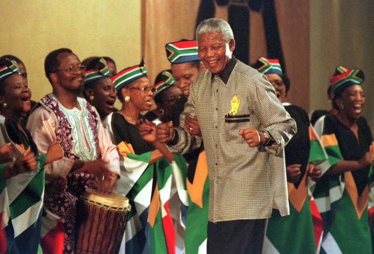 Nelson Mandela's love of dancing and music is seen in this