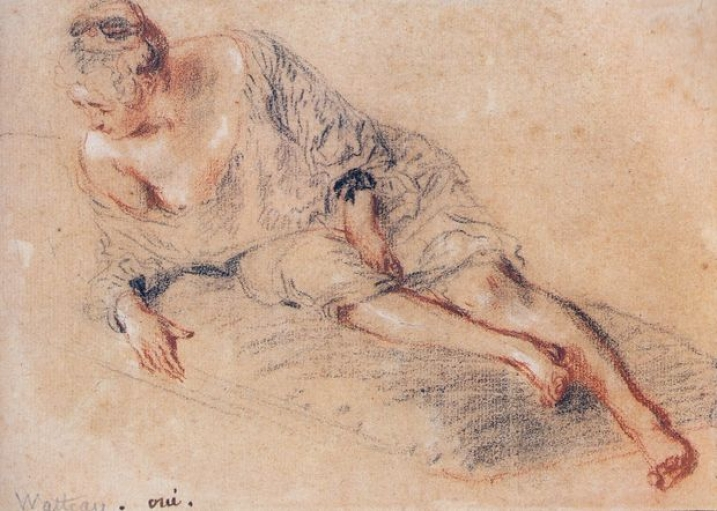 """French painter Jean-Antoine Watteau's """"A Woman Lying On A Chaise Lounge"""" (1719)"""