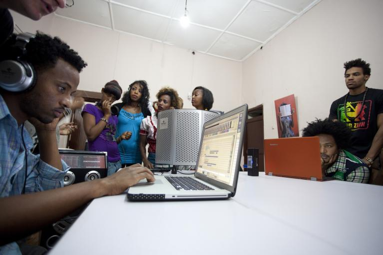 Recording session at our studio in Addis Ababa.