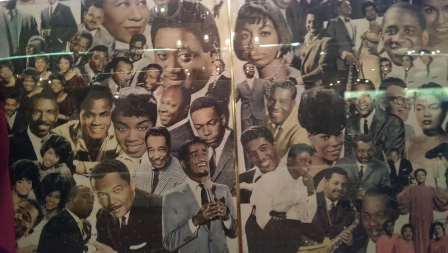 Inside the Apollo, a collage of the musical greats who have graced the stage.