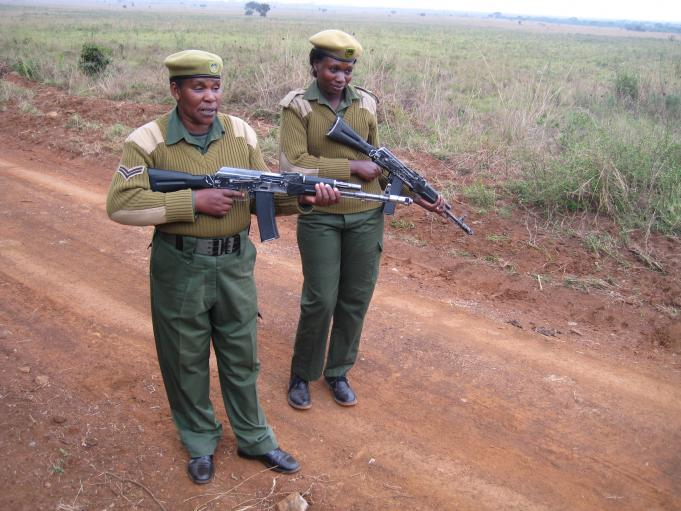 Corporal Patricia Mututu (left), a 30-year Kenya Wildlife Service veteran, and Ranger Mildred Oduor on patrol in Nairobi National Park.