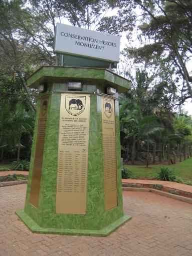 The Conservation Heroes Monument stands at the entrance to Kenya's Nairobi National Park, a memorial to wildlife rangers killed in action. Increasingly, they're being killed by poachers.