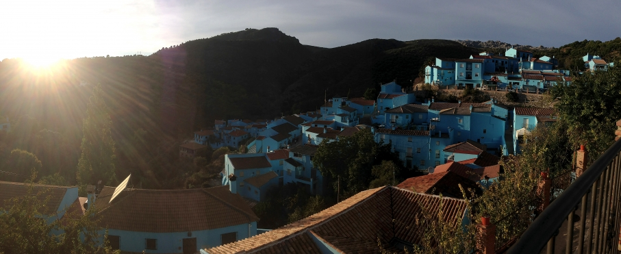 Sunset over Smurfville, aka Juzcar, Spain.