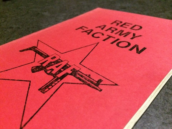 Booklet on West German neo-Marxist militant group the Red Army Faction, also known as the Baader-Meinhof Group. The RAF staged a series of violent attacks in the 1970s. The booklet, published by a radical press in San Francisco in 1979, calls for global r