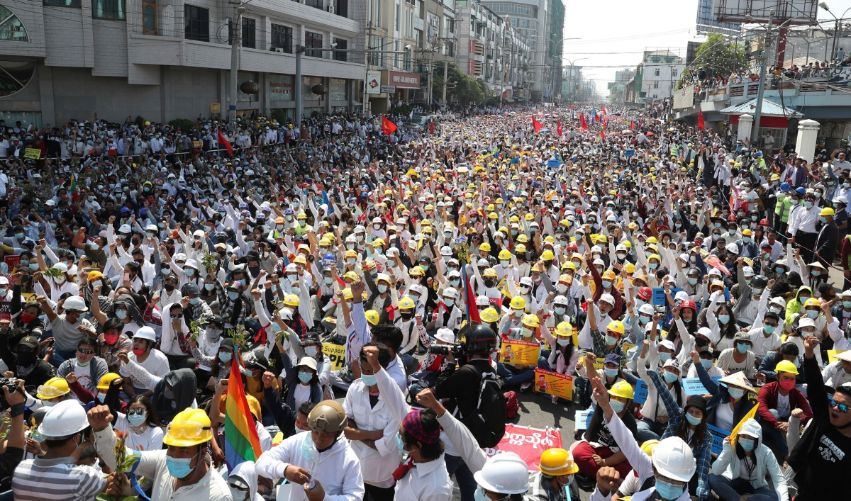 Protesters again took to the streets in defiance of military leaders in Myanmar