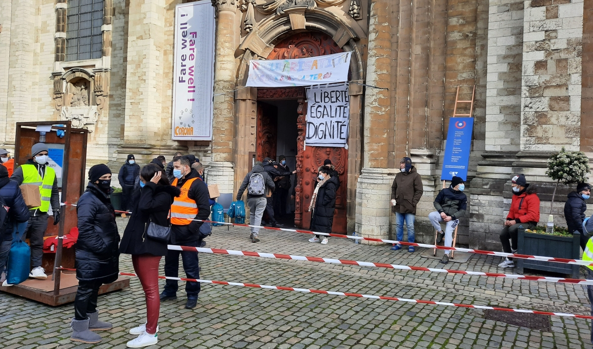 'We cannot continue to live like this': Migrants desperate to work occupy Brussels church