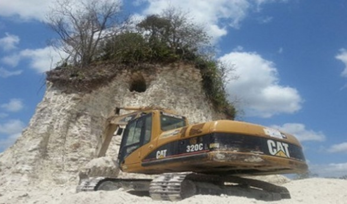 Ancient Mayan Pyramid Bulldozed, Mostly Reduced to Rubble for Use as Road Fill