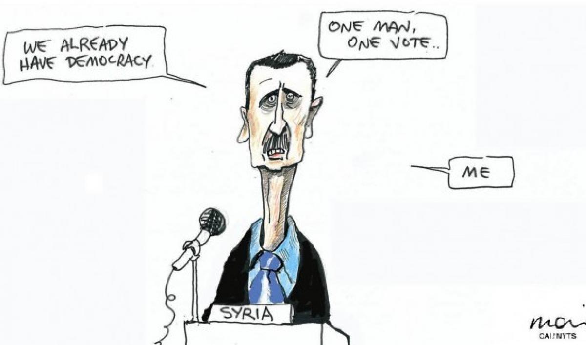 cartoon  democracy according to syria u0026 39 s bashar al