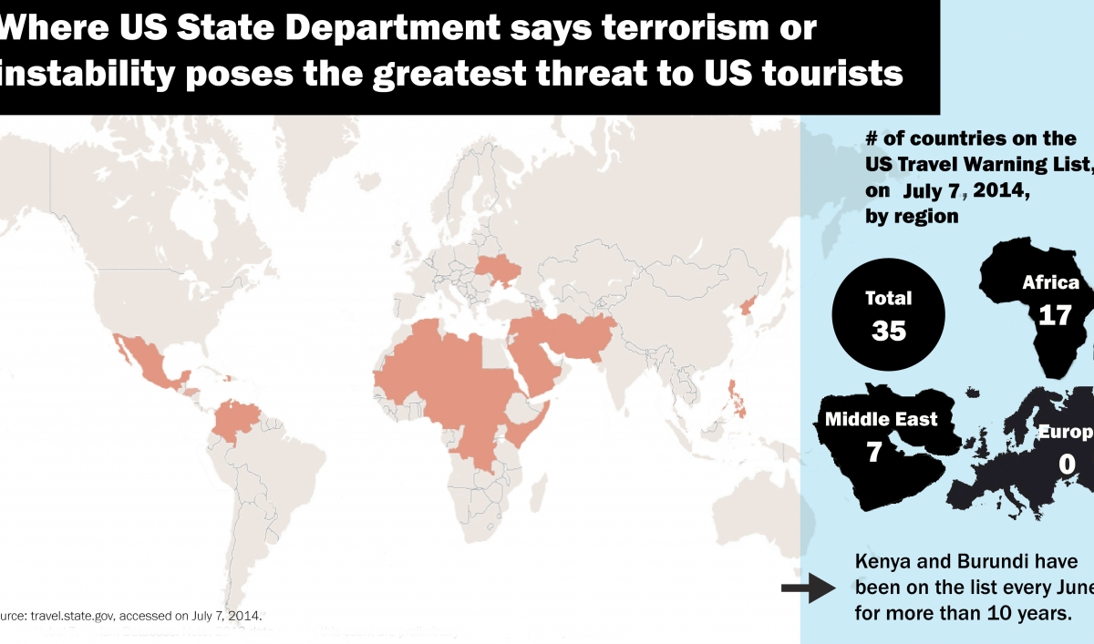If You Follow US Travel Warnings Out Of Africa Is More A - Us travel alert map