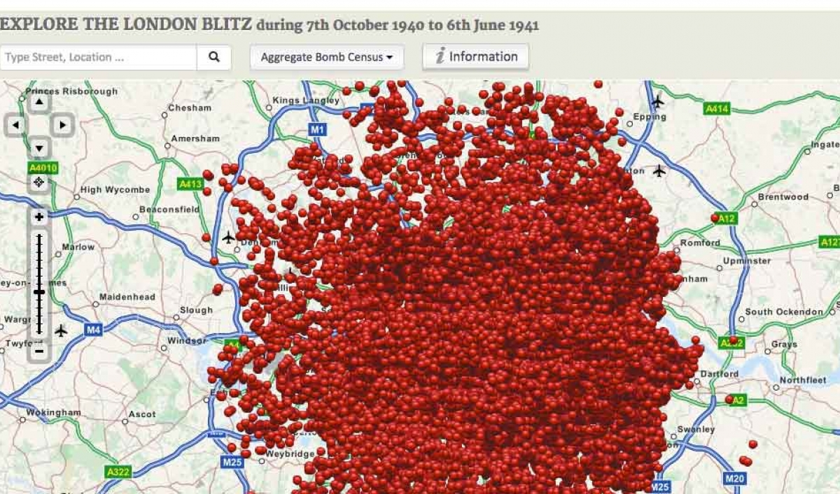 This map shows the locations where bombs fell on london