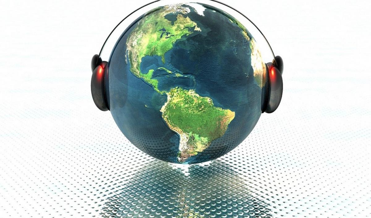 Earth wearing headphones.