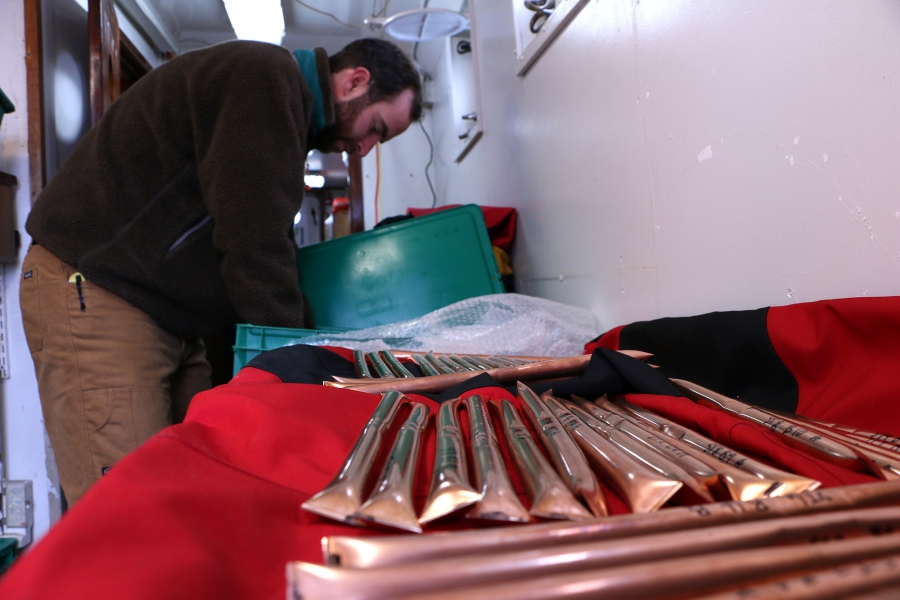 Researcher Nicholas Beaird had planned to use these copper tubes to capture fjord water containing different amounts of trace atmospheric gases, but the tubes malfunctioned and he had to improvise on the fly. The gases appear in different concentrations d