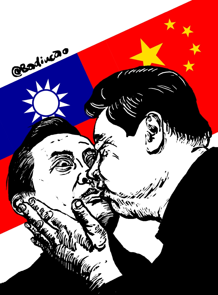 Cartoonist Badiucao shows the presidents of Taiwan and China in a romantic embrace. (Novermber 7th, 2015).