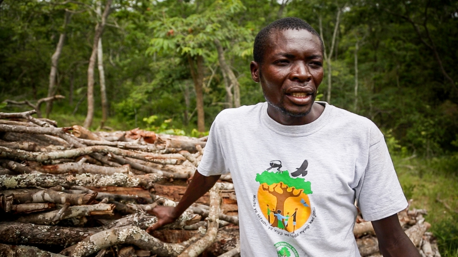35-year-old Rashidy Kazeuka used to produce charcoal illegally, cutting every tree he could with no concern for things like wildlife or watersheds. Under Tanzania's new pilot program he's now producing more sustainable charcoal on designated land, and pay
