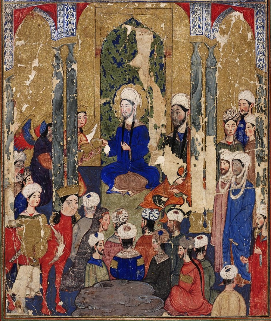 Prophet Muhammed sits with the Abrahamic prophets in Jerusalem, anonymous, Mi'rajnama (Book of Ascension), Tabriz, ca.1317-1330.