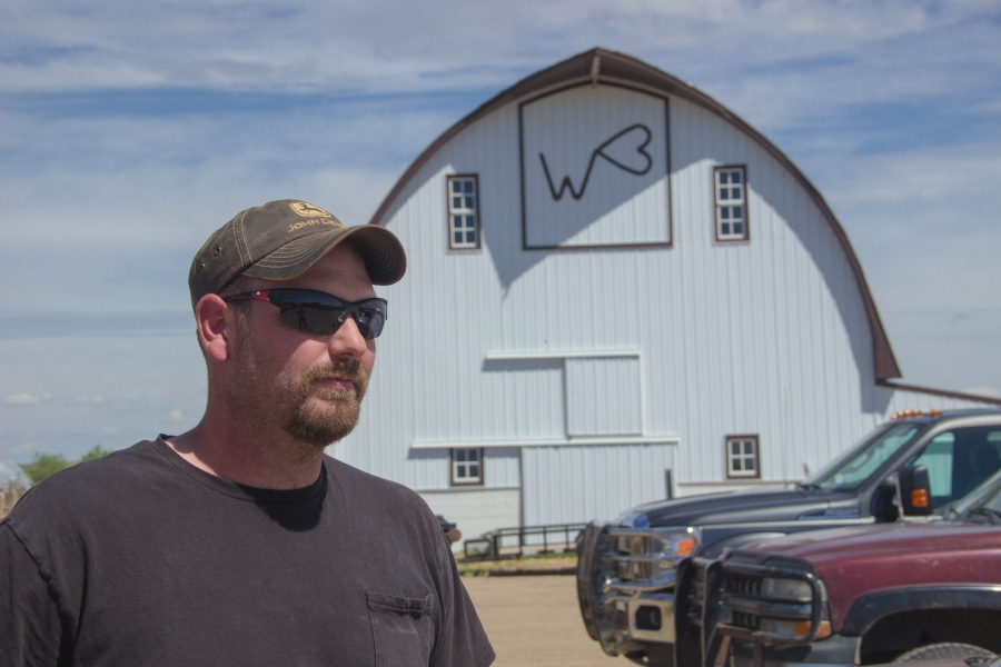 Lucas Lang works on a family farm with his parents and three brothers. The family raises cattle and grows corn, barley, and flax.