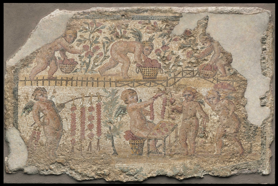 Mosaic with cupids gathering roses, early 3rd century   Gallery 214