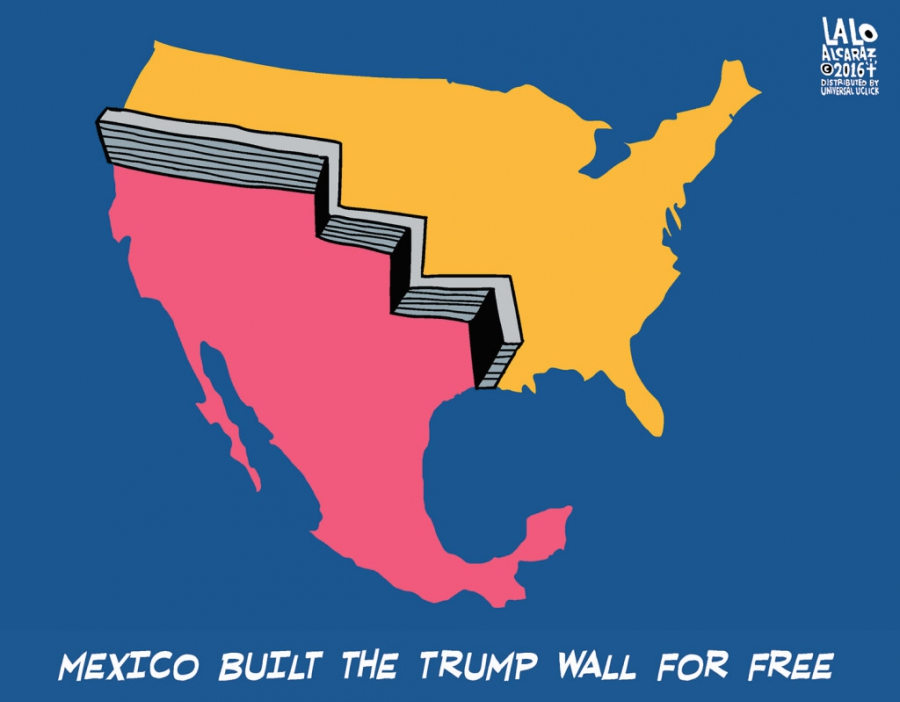 Cartoon of wall built by Mexico that uses historical boundaries that reach way into US