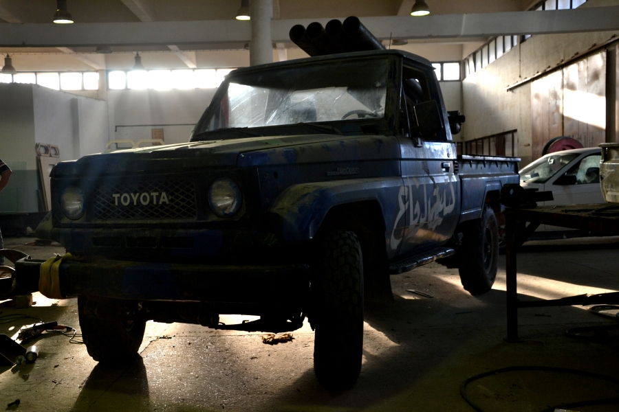 A Toyota Land Cruiser 70 mounted with four Grad missile launchers at a makeshift militia workship in Misrata.