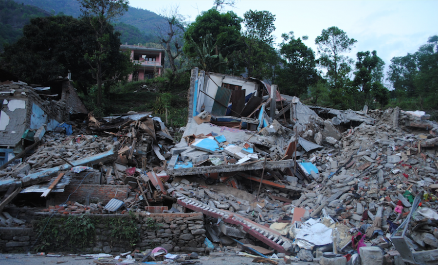 Destroyed homes in Nepal.