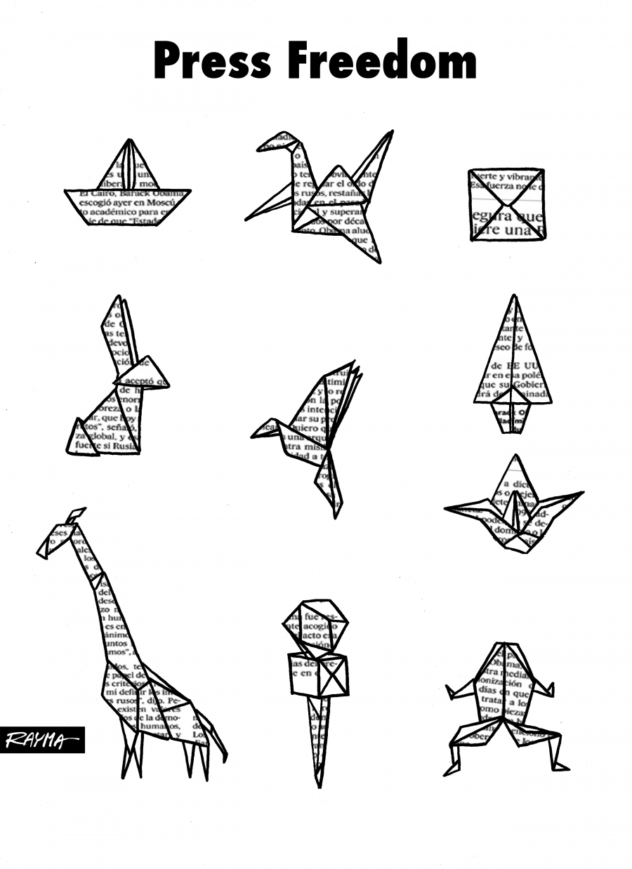newspaper turned into origami, metaphor for value of freedom of the press in Venezuela.