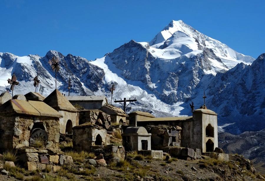 Milluni cemetery is seen near the Huayna Potos mountain.