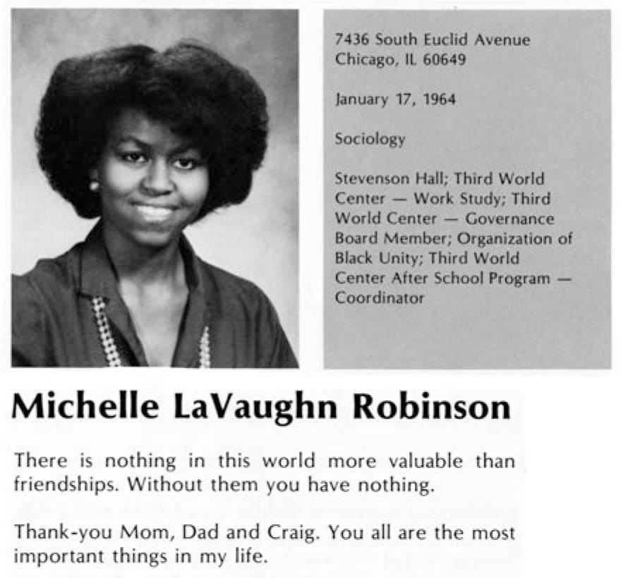 michelle lavaughn robinson college thesis Michelle lavaughn robinson was born jan 17, 1964, to fraser and marian robinson following the death of both her father and a close friend from college, michelle reassessed her life information nigeria ad reviews.
