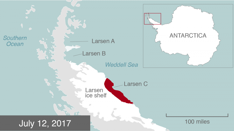 A branch formed on a 120-mile rift resulted in one of the largest icebergs in history.