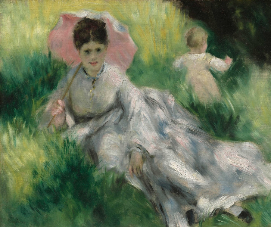Woman with a Parasol and Small Child on a Sunlit Hillside, Pierre-Auguste Renoir, about 1874–76
