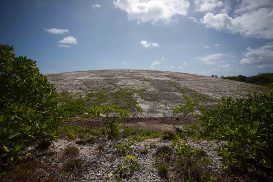 "The ""Cactus Dome,"" a nuclear waste site on Runit island, remains a relic of U.S. presence in the Marshall Islands."