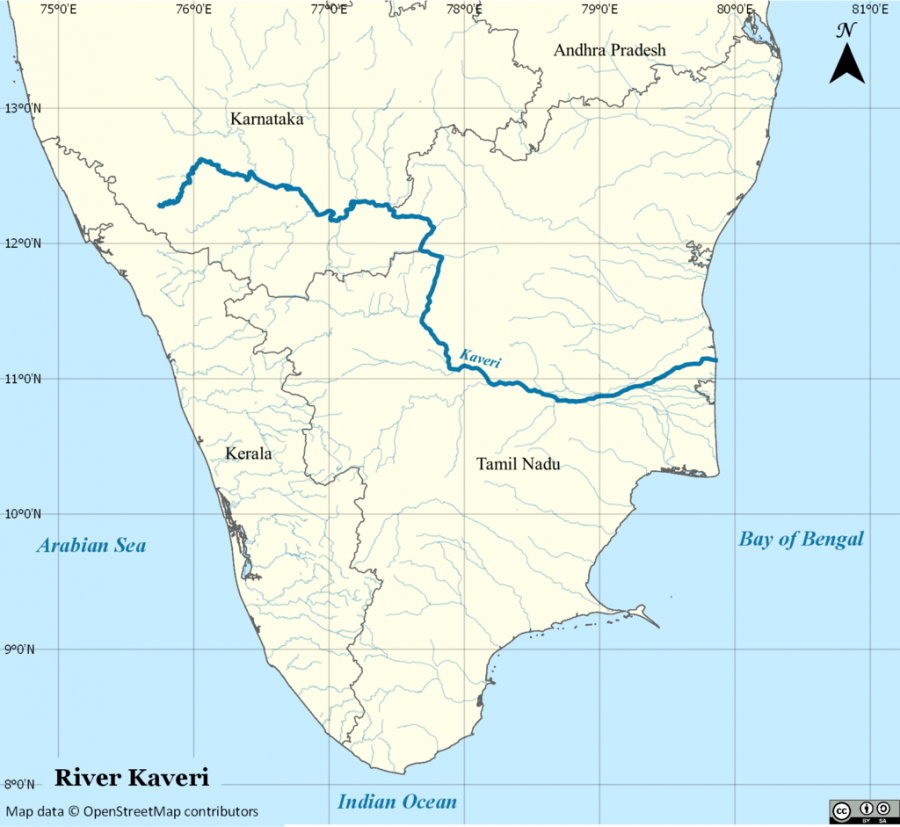 Cauvery river map India