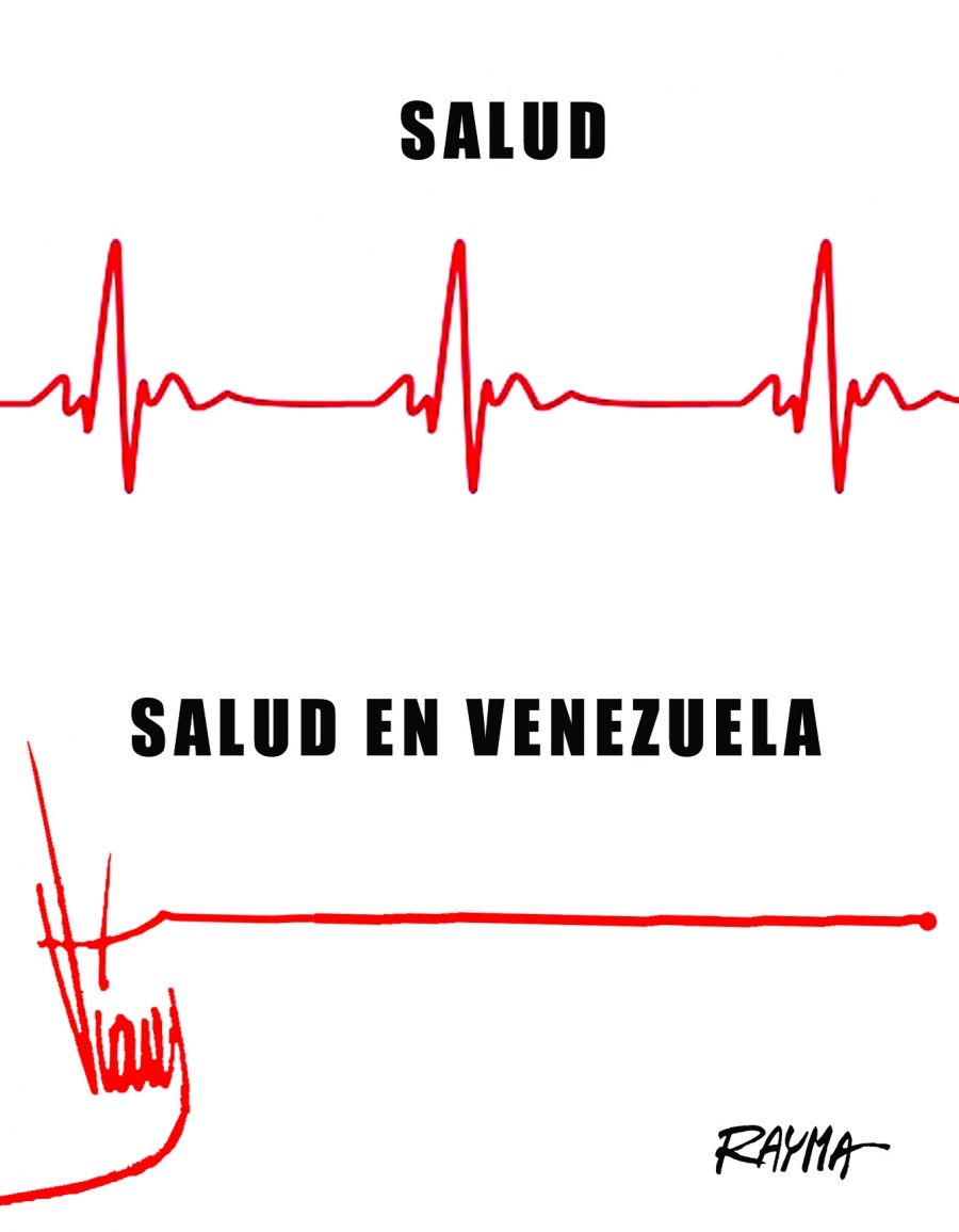 Cartoon of Venezuela's flat line economy, compared to policies of Hugo Chavez