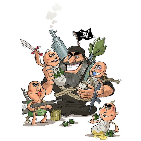 The cartoon implies that ISIS or Daesh fighters have spawned other kinds of violence, including that committed by Israel.