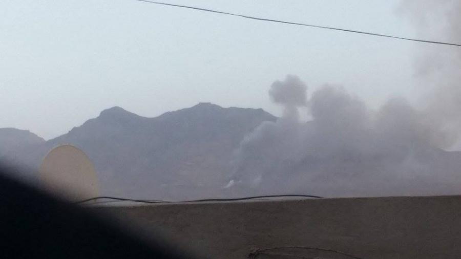 Explosion following air strike on Sanaa, Yemen