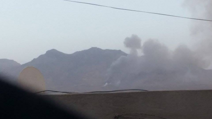 Explosion following air strike on Sanaa, Yemen