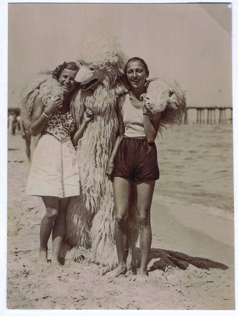 The bear has his arms around two women at the beach