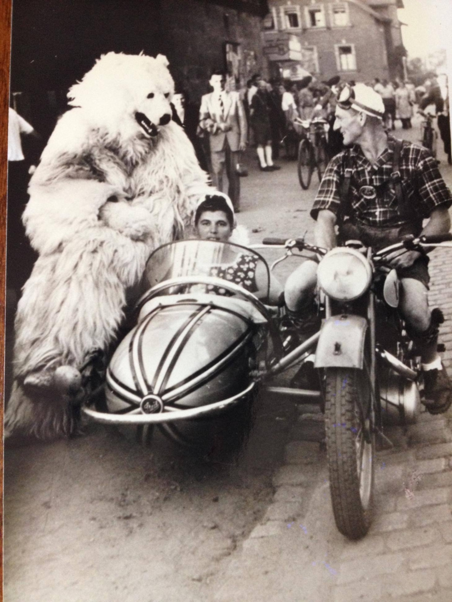 A polar bear sits in a sidecar with Facebook reader Nancy Skoyles Greenberg's great aunt