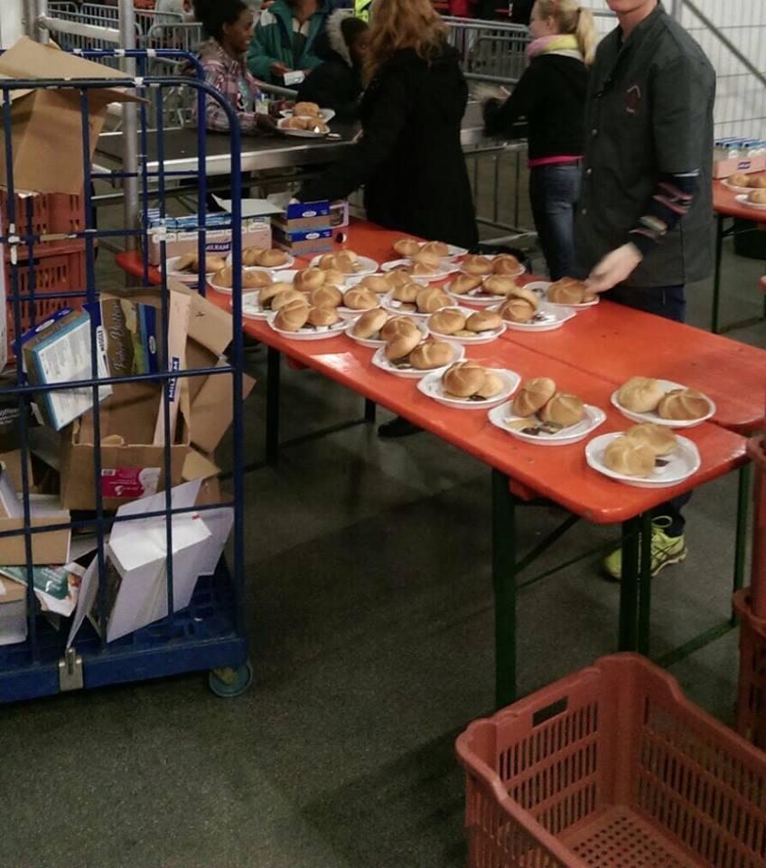 Food at a refugee camp in Calden, Germany.