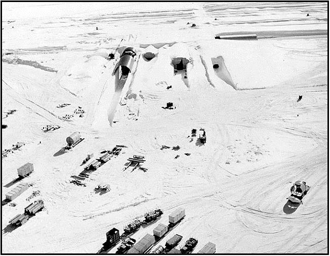 Entrances to Camp Century in northern Greenland during construction in 1959.