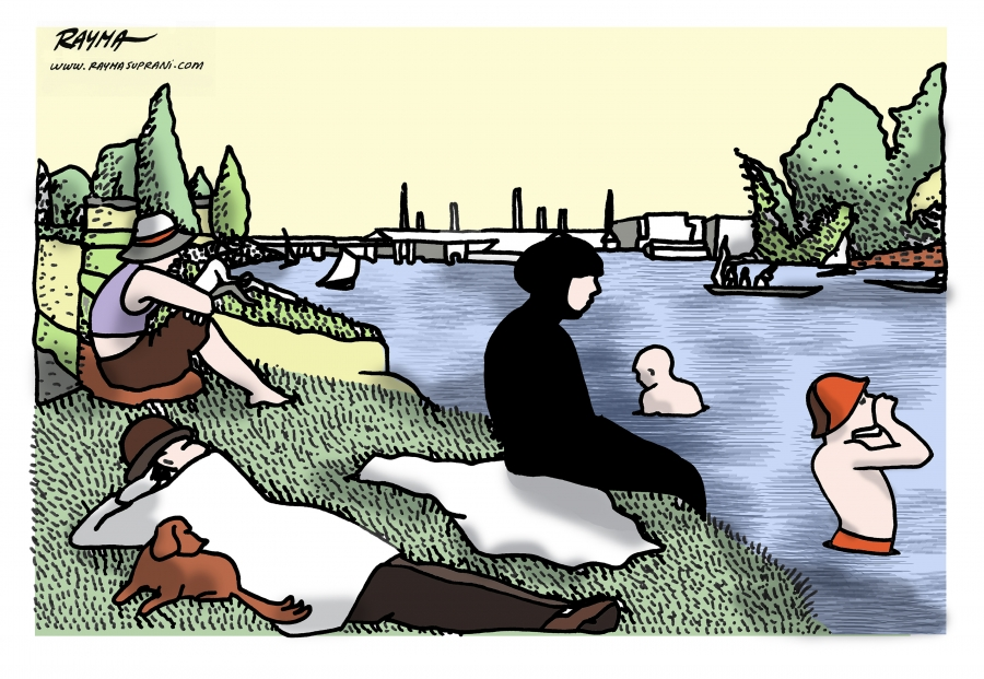 Rayma Surprani redrawing of Georges Seurat painting of bathers showing one in a burkini.