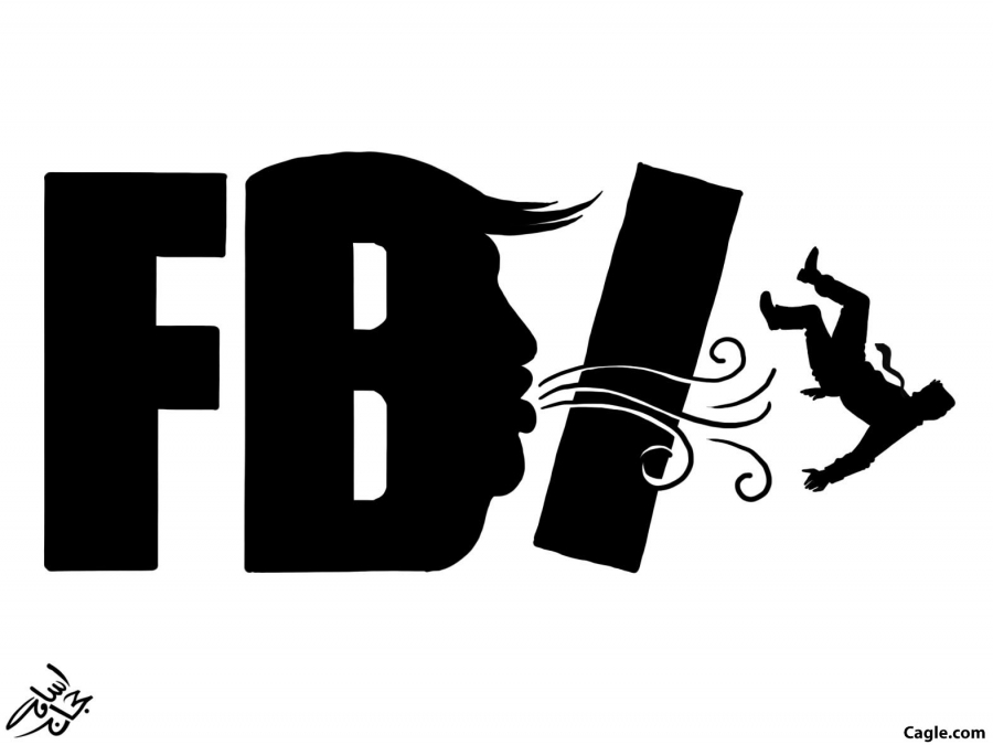 The letter FBI drawn with B the profile of Trump and it's blowing away the I, as in information
