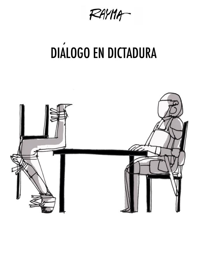 cartoon showing one person trying to talk to other person at table, but the other person is kicked off chair, to illustrate what it's like trying to deal with a dictator.