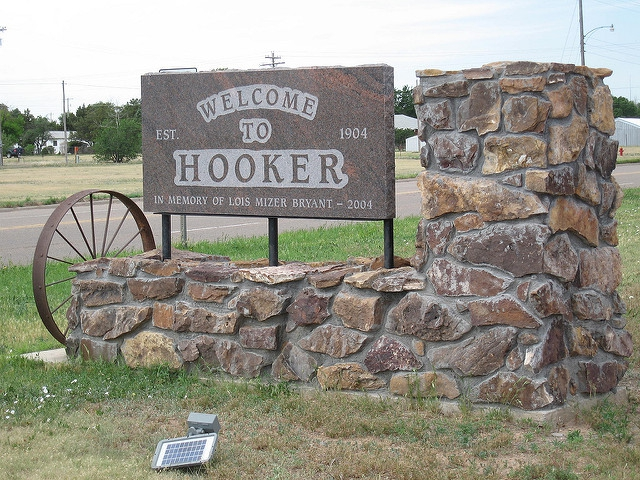Welcome to Hooker, Oklahoma sign.
